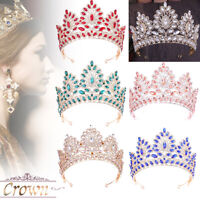 6 Colors 8.5cm High Crystal Large Tiara Crown Wedding Bridal Party Pageant Prom