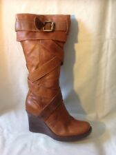 Faith Brown Mid Calf Leather Boots Size 4