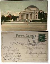 1910 postcard USS North Dakota BB-29 Naval Ship Stamp Columbia University NYC