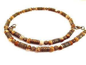 Necklace Men Choker Stone Jasper Brown Bronze Beads Free Shipping 4021J