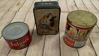 Lot of 3 Advertising Tins/Containers - Folgers Coffee, Coca-Cola, Clark's Cotton