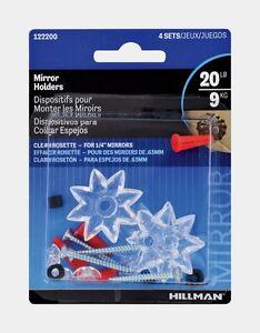 Hillman 1lb Clear Plastic Heavy Duty Wall Mirror Rosette Holder Anchor 122200