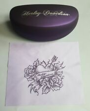 HARLEY-DAVIDSON LARGE PURPLE HARD SUNGLASSES CASE WITH CLEANING CLOTH