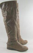 "New ladies TAN I""LOW HEEL  long round toe sexy over  knee boots   Size   6.5"