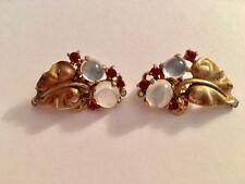 Vintage Trifari Sterling Moonstone Leaves Clip Earrings-Alfred Phillipe
