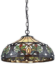 "Tiffany Style Sunrise Hanging Lamp Stained Glass 16"" Shade Handcrafted"