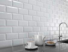 TILE SAMPLES London Bevelled White Gloss Metro Bathroom Kitchen Tiles 10 x 20cm