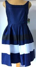 "NWT ""TAYLOR"" Navy Blue White Black Striped Knee-Length Bubble Sleeveless Dress"