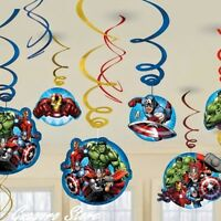 Avengers Iron Man Birthday Dangling Swirl Decorations 12 Pcs Party Supply Favors