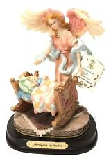 """MONTEFIORI COLLECTION - GUARDIAN ANGEL Watching Over Child- Wood Base 9x7"""" W/tag"""