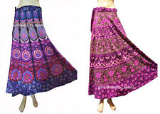 Set of 2 Women Ethnic Floral Rapron Printed Cotton Long Skirt Wrap Around Skater