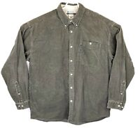 Colombia Mens XL Green Heavy Cotton Corduroy Long Sleeve Button Up Shirt