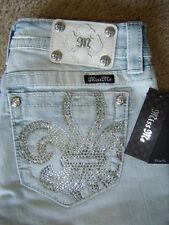 """NWT $99 """"MISS ME"""" SIGNATURE FLEUR DE LIS Crystals Bermuda Jean Shorts Size 27"""