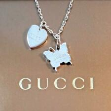 AUTH GUCCI Butterfly & Heart Motif Pendant Silver 115