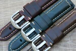 Watch Strap Genuine Calf Leather Vintage Oil Wax Padded Durable Stitch 18mm-26mm