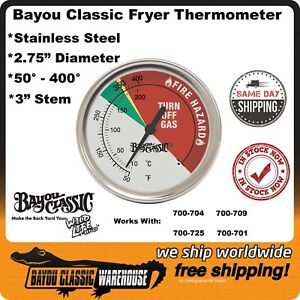 Bayou Classic 5070 Stainless Steel Deep Fryer Thermometer 50°- 400° Replacement