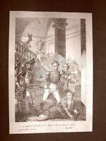 Torino 1821 Capitano Ferrero Granatieri Incisione 1881 Dinastia Savoia Oscar Pio
