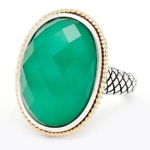 Andrea Candela 18k Gold & Sterling Silver Dublet Green Agate Halo Ring ACR115-GA
