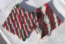 Christmas colored hand crocheted potholders. Made in Montana! Set of 2!