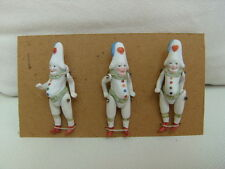 3 Antique porcelain dolls-to-sample card-Hertwig-Co-Clown