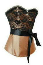 Satin Corset Bustier Top with Lace Overlay, Satin Bow, Rhinestone Button Accents