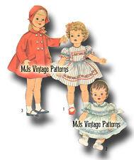 "Vtg Pattern Life Size Doll Clothes Dress Coat Hat ~ 28"" Patti Patty Playpal 1yr"