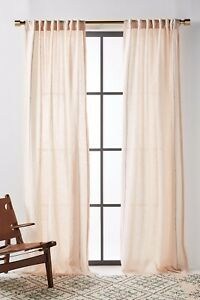 NEW ANTHROPOLOGIE PAIR (2) STITCHED LINEN CURTAIN PANELS OATMEAL 50 X 84