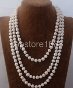 """Natural 8-9mm White freshwater Cultured pearl Necklace 54"""""""