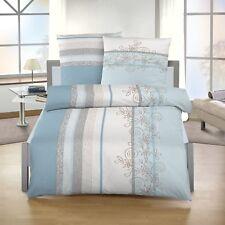 2 tlg Bettwäsche 155 x 220 cm hellblau grau Biber Baumwolle B-Ware NEU