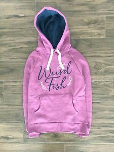 New ex Weird Fish UK Size 16 Ladies Mauve Embroidered Jumper Fleece Hoodie Top