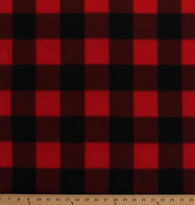 Fleece Red Black Buffalo Plaid Squares Fleece Fabric Print by the Yard A511.33