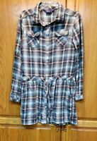 Miley Cyrus Max Women's Belted Plaid Long Sleeve Tunic Size L