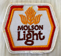 Vintage 70s MOLSON LIGHT Beer Embroidered Patch Sew On Canada Brewery Trucker