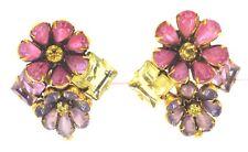 IRADJ Moini Topaz Citrine Rose Quartz Gem Stone Glass Earrings Clip Ons