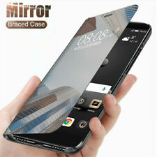 Smart Leather Flip Clear View Mirror Case Cover For iPhone 12 11 Pro Max Samsung