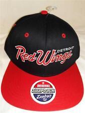 New Detroit Red Wings Mens OSFA Flatbrim Snapback Zephyr Black Red Cap Hat