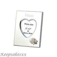 Heart Photo Frame & LABRADOR RETRIEVER in Sterling Silver & personal engraving