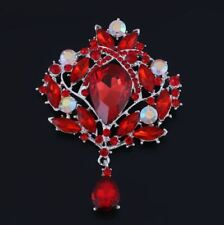 "Diamante/Rhinestone Crystal Tear Drop Brooch 3.75"" Silver Tone Red Sparkly"