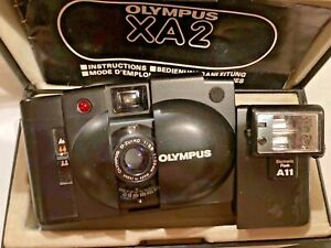 Olympus 35mm XA2 with A11 Flash Go Everywhere Camera Tested works Case Box Book