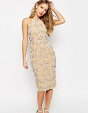 Branded  SALON Drape Back Beaded Floral Midi Dress Mink Uk 12 RRP £ 89.90