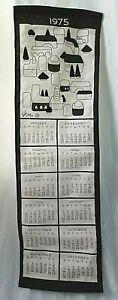 Vintage Vera Neumann Black & White Linen Tea Towel1975 Calendar  Retro Kitchen