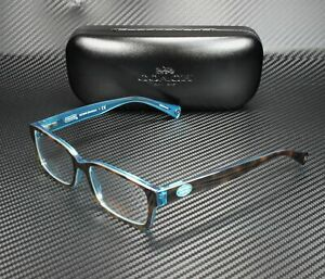 COACH HC6040 5116 BROOKLYN Dark Tortoise Teal Demo Lens 50 mm Women's Eyeglasses