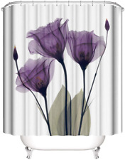 Watercolor Purple Tulips with Hooks Floral Farmhouse Fabric Shower Curtain
