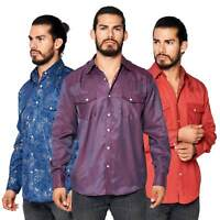 Masculin EDGE design extensible pour homme Marron Timber CIREUX CUIR VÉRITABLE Western Shirt