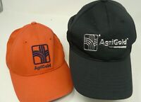 Lot of 2 AGRIGOLD SEEDS Farmers Hat Cap Embroidered Orange Black