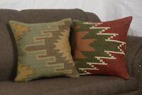 2 Set of Wool Jute Cushion Cover Indian Vintage Handmade Kilim Rug Pillows 8277