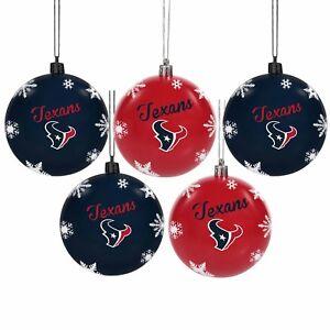 Houston Texans Shatterproof BALLS Christmas Tree Holiday Ornaments Set 5 pack