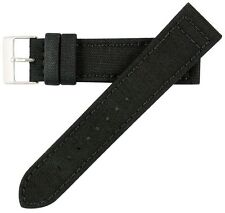 20mm Men's Vintage High Quality Canvas Black Watch Band Strap MS850 Hadley-Roma