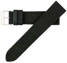 18mm Men's Genuine Cordura Canvas Black Watch Band Strap MS850 Hadley-Roma
