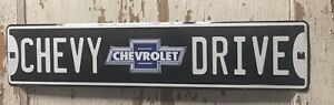 """CHEVROLET """"CHEVY DRIVE"""" 24"""" x 5"""" Embossed Metal Street Sign man cave garage"""